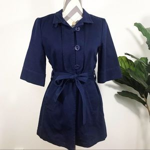 ANTHROPOLOGIE 100% cotton elegant blue pea coat